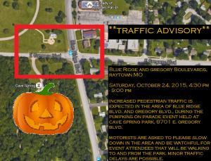 Pumpkins on Parade Traffic Advisory